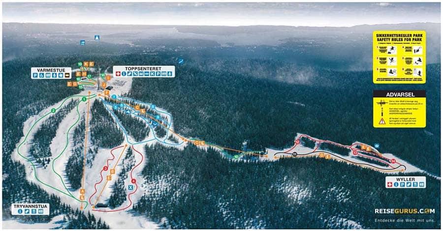 Pistenplan des Oslo Winterparks