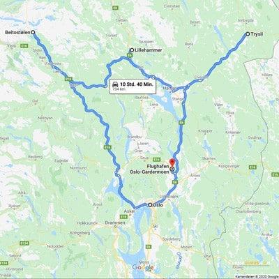 Norwegen im Winter Route