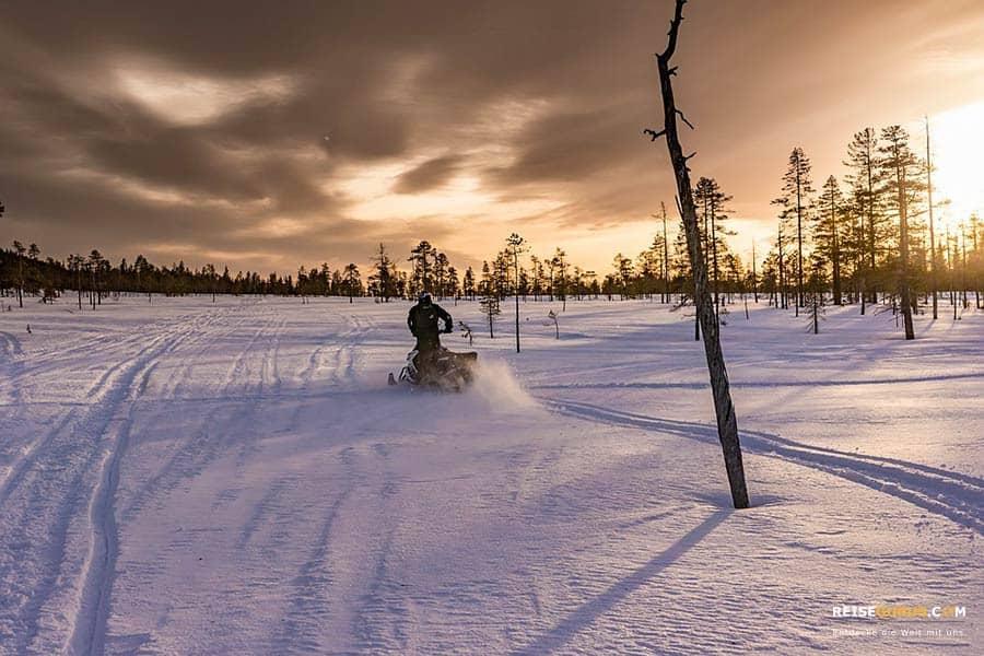 Schneemobiltour durch die Natur