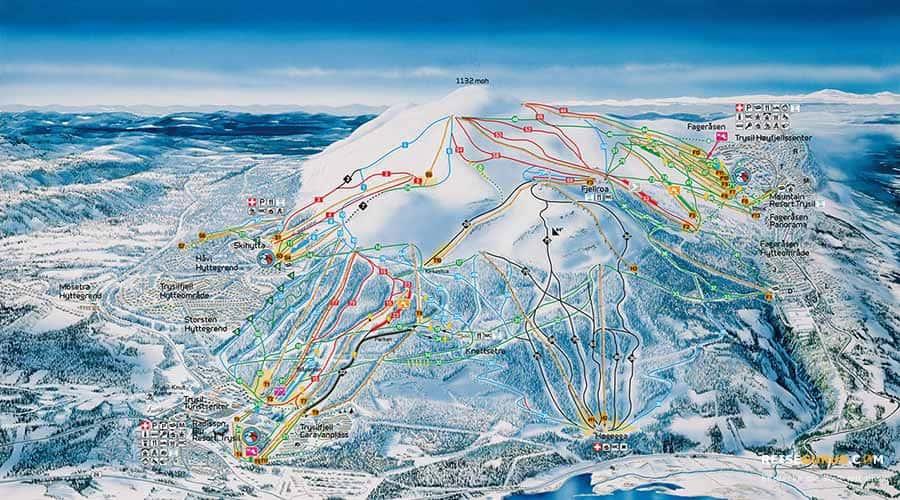 Der Pistenplan vom größten Skigebiet in Norwegen: Trysil
