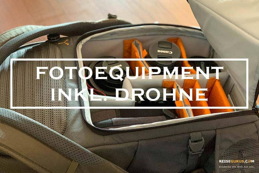 Fotoequipment mit Drohne