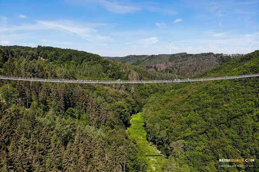 Drohne fliegen an der Geierlay Hängeseilbrücke