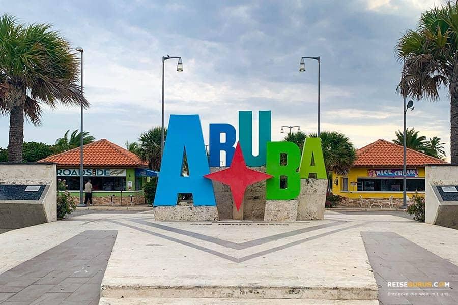 Das Aruba Zeichen in Oranjestad
